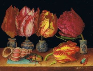 Nature morte aux tulipes, coquillage et scarab�e
